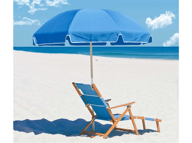 Frankford Emerald Beach Ash Wood 7.5 Foot Wide Octagon Manual Lift Umbrella PatioLiving