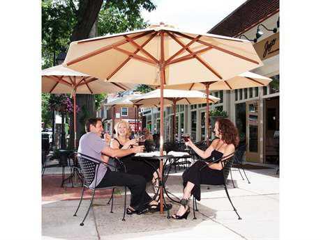 Frankford Venetian Wood Market 7.5 Foot Wide Octagon Pulley Lift Umbrella