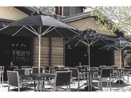 Frankford Greenwich Aluminum Silver Anodized 9 Foot Wide Octagon Pulley Lift Umbrella PatioLiving