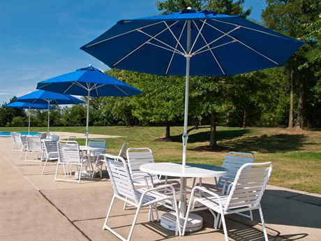 Frankford Monterey Market Fiberglass 9 Foot Wide Octagon Crank Non Tilt Umbrella PatioLiving