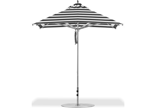 Frankford Greenwich Market Silver Anodized Aluminum 7.5 Foot Wide Square Pulley Lift Umbrella
