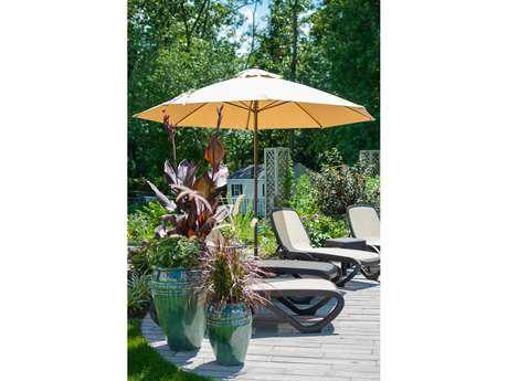 Frankford Monterey Fiberglass Market 11 Foot Wide Octagon Pulley Lift Umbrella