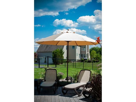 Frankford Monterey Market Fiberglass 11 Foot Wide Octagon Crank Non Tilt Umbrella PatioLiving