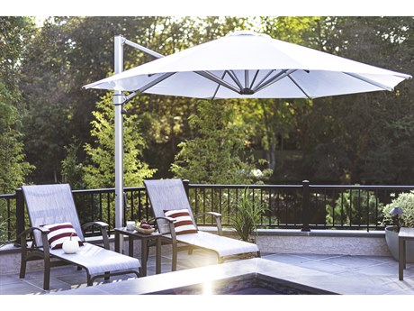Frankford Aurora Premium Cantilever Aluminum Matte Silver 11 Foot Wide Octagon Crank Lift Umbrella PatioLiving