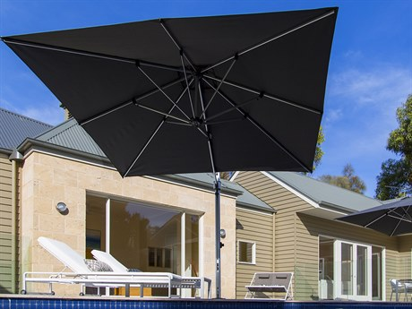 Frankford Aurora Premium Cantilever Aluminum Matte Silver 9 Foot Wide Square Crank Lift Umbrella PatioLiving