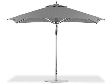 Frankford G-Series Greenwich Market Aluminum Silver Anodized 11'' x 8.5'' Foot Rectangular Double Pulley Lift Umbrella