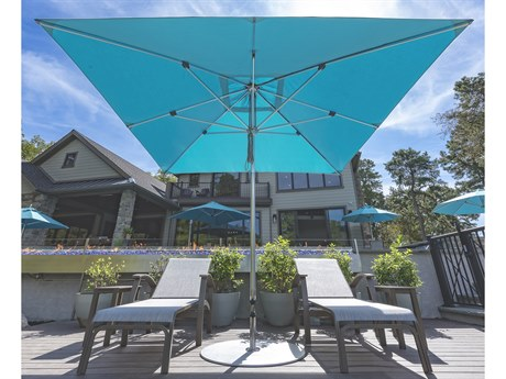 Frankford G-Series Aluminum Market Silver Anodized 10 Foot Wide Square Double Pulley Lift Umbrella