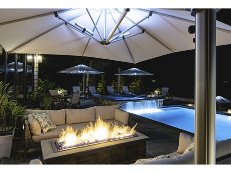 Frankford Eclipse Commercial Cantilever10 Foot Wide Square Crank Lift Umbrella PatioLiving