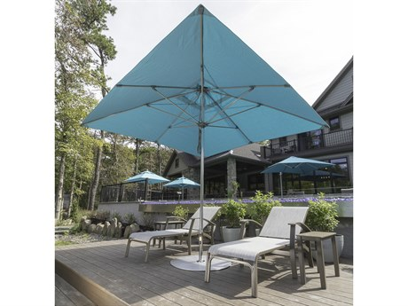 Frankford G-Series Monterey Market Aluminum Silver Anodized 10' Foot Wide Square Double Pulley Lift Umbrella