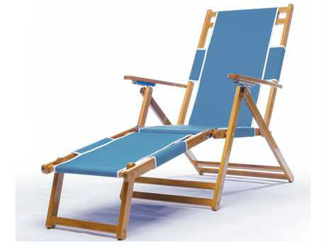 Frankford Umbrellas Oak Wood Beach Lounge Chair with Foot Rest