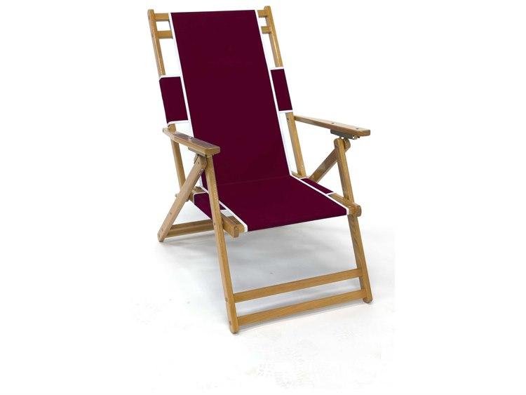 Frankford Umbrellas Oak Wood Beach No Foot Rest Lounge Chair PatioLiving