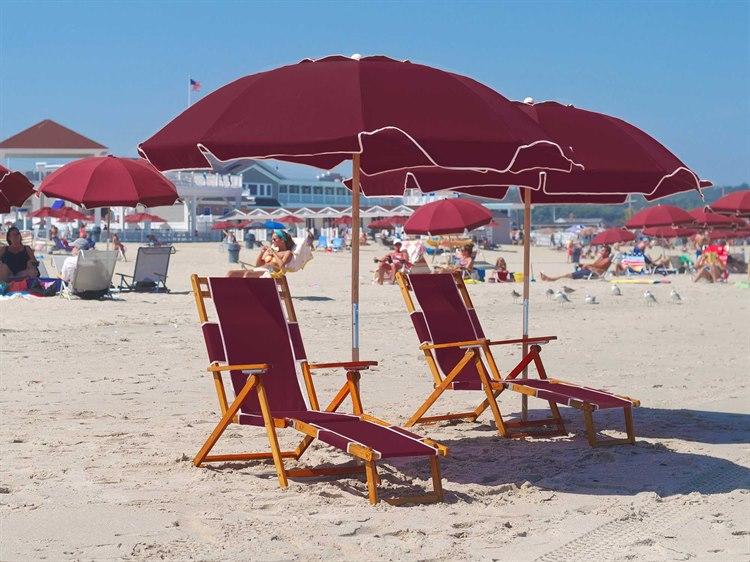 Frankford Umbrellas Oak Wood Beach Chairs Lounge Set