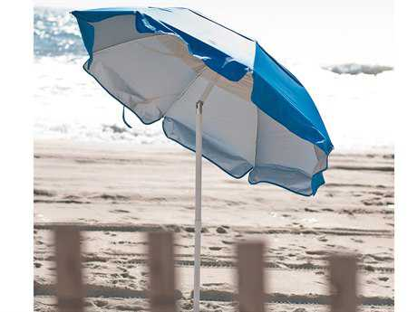 Frankford Beach Lifeguard White Steel  6' Foot Wide Octagon Manual / Tilt Umbrella