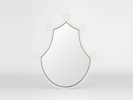 Gabby Bartlet White Faux Horn with Antique Gold 34''W x 40''H Wall Mirror