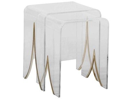 Gabby Magnolia Clear Acrylic & Antique Brass 20''W x 16''D Rectangular Nesting Table