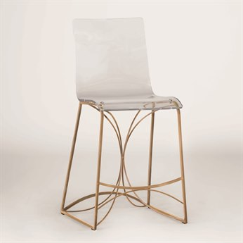 Gabby Angela Antique Gold & Clear Acrylic Counter Stool