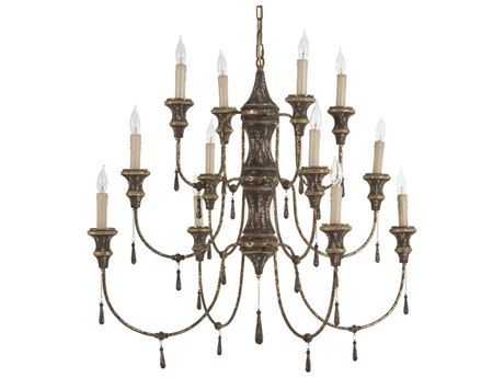 Gabby Durham Chocolate with Antique Gold Leaf 12-Light 42'' Wide Chandelier