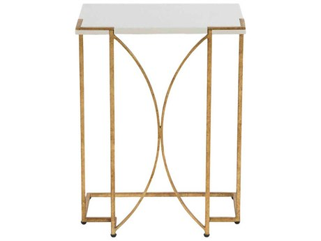 Gabby Amber White Seagrass & Antique Gold Leaf 18''W x 12''D Rectangular End Table