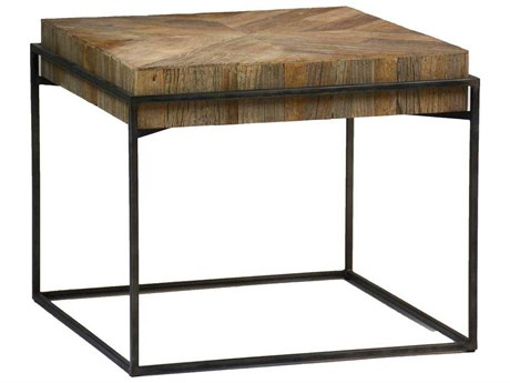 Gabby Carlyle Recycled Elm & Wax Black 24'' Wide Square End Table