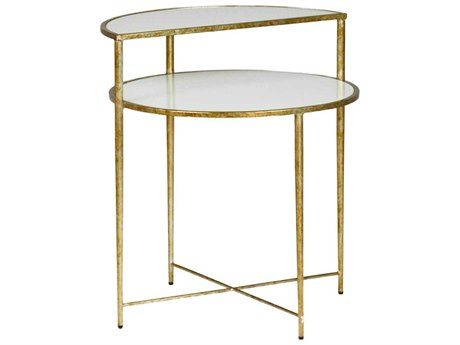 Gabby Langdon White Glass & Champagne 24'' Wide Round End Table