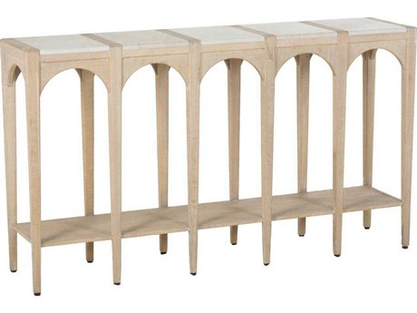 Gabby Jonas Cloud White Marble & Whitewashed Oak 58''W x 13''D Rectangular Console Table