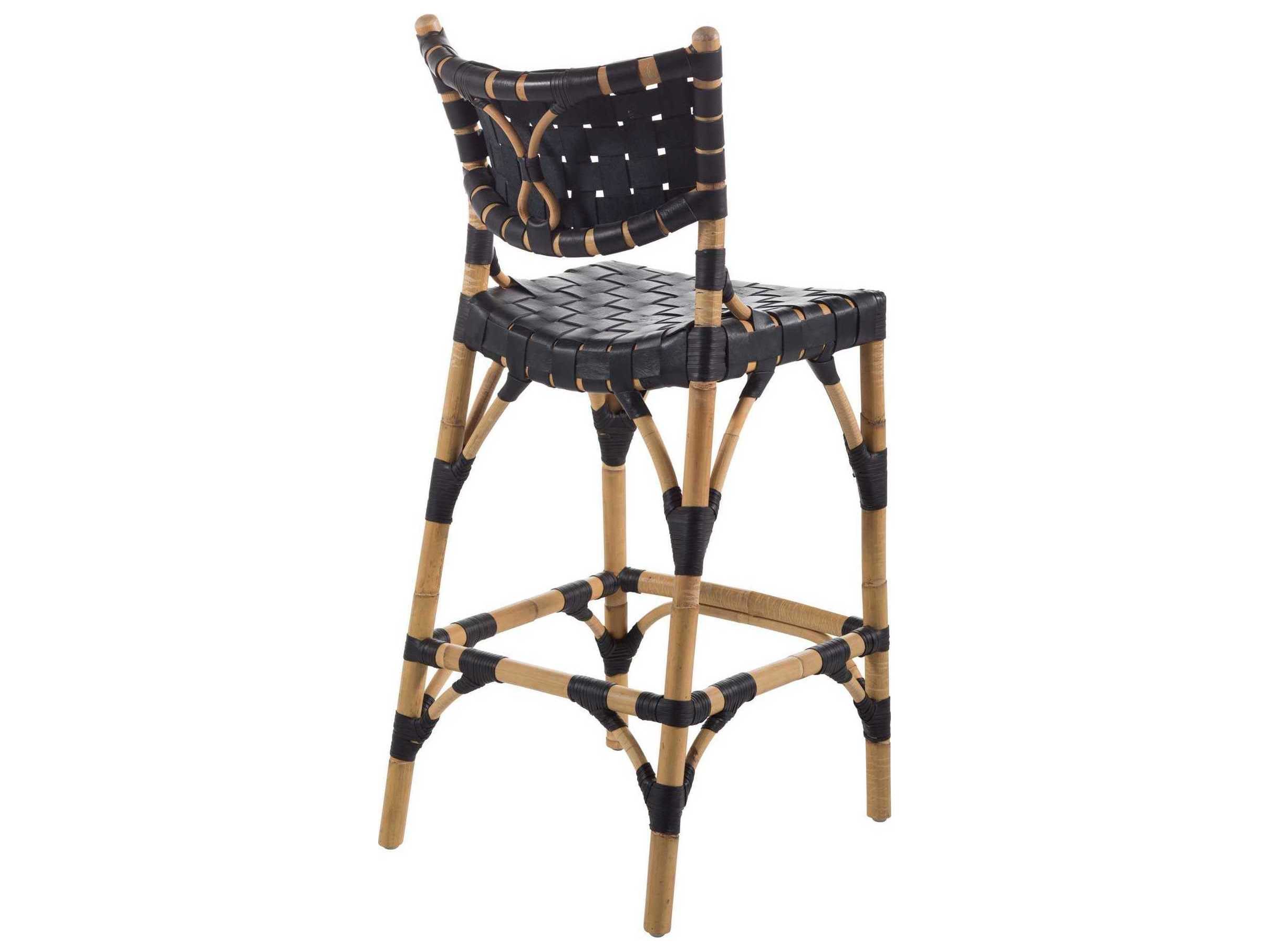 Peachy Gabby Home Morrison Black Leather Natural Rattan Side Counter Height Stool Evergreenethics Interior Chair Design Evergreenethicsorg