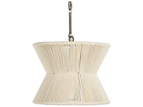 Gabby Home Gordon White Cotton Rope, Rust 16'' Wide Pendant