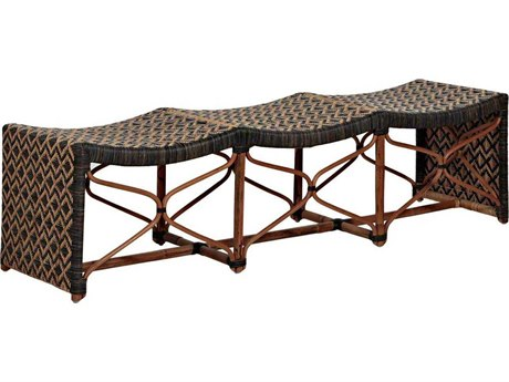 Gabby Home Bennet Black / Natural Rattan Triple Accent Bench