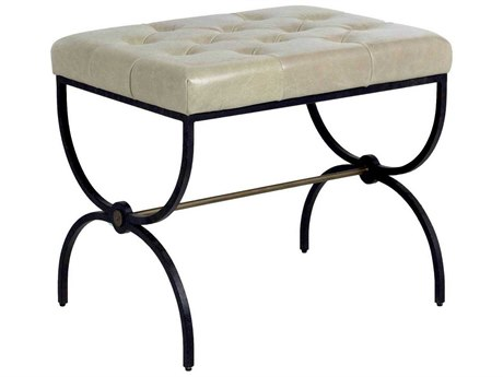 Gabby Home Galvin Gray Leather, Textured black metal, Brushed brass Accent Stool