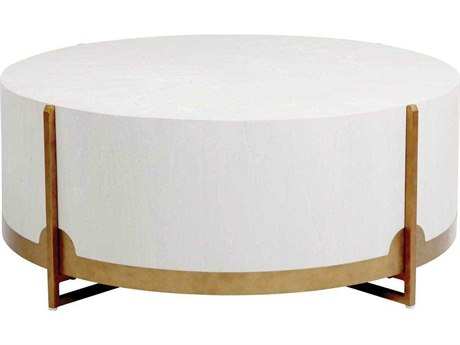 Gabby Home Clifton White Cerused Oak, Brass 47'' Wide Round Coffee Table GASCH163255