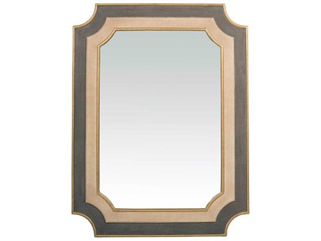 Gabby Yardley Antique Gold, White & Neutral Shagreen 35''W x 46''H Rectangular Wall Mirror