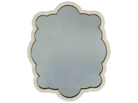 Gabby Rita Polished White Horn & Antique Brass 32''W x 39''H Wall Mirror