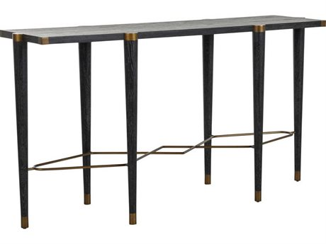 Gabby Fiona Black Cerused Oak & Antique Brass 65''W x 19''D Rectangular Console Table