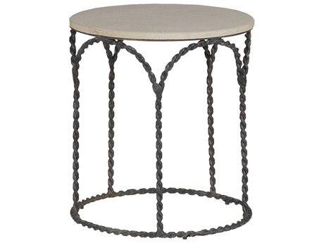 Gabby Bradley Cream Limestone & Black Iron 20'' Wide Round End Table GASCH250240