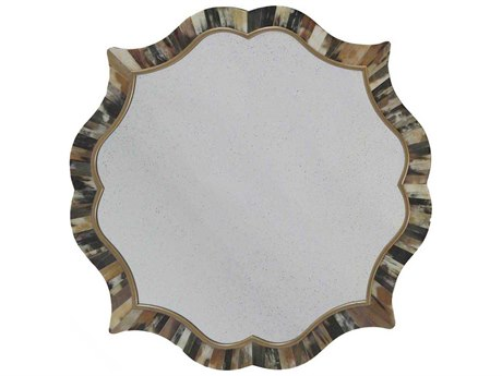 Gabby Lawrence Dark Brown Horn and Antique Gold 31'' Wide Round Wall Mirror