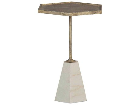 Gabby Lucinda Antique Gold & Cream Marble 13'' Wide Hexagon Accent Pedestal Table