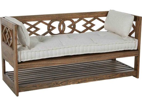 Gabby Modena Natural Mindy & Beige Linen Tufted Wooden Bench