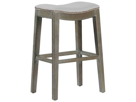 Gabby Vivian Burnished Oak & Sunbrella Linen Dove Bar Stool