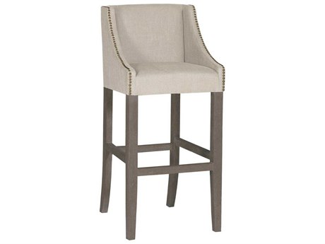 Gabby Winston Burnished Oak & Sunbrella Linen Dove Bar Stool