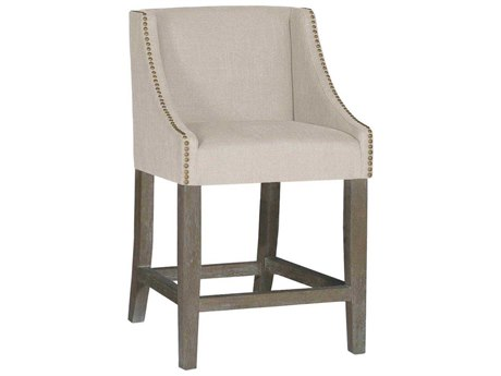 Gabby Winston Burnished Oak & Sunbrella Linen Dove Counter Stool