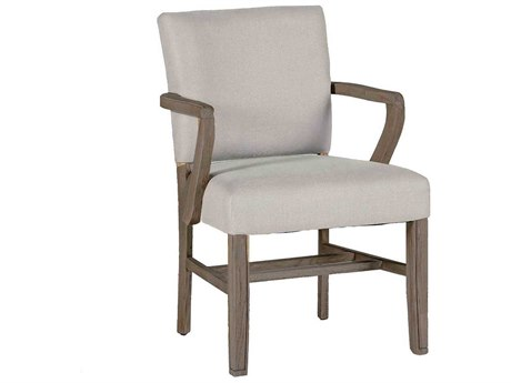 Gabby Wylie Burnished Oak & Sunbrella Linen Dove Dining Arm Chair
