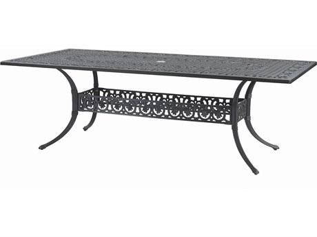 GenSun Michigan Cast Aluminum 86 x 42 Rectangular Dining Table with Umbrella Hole