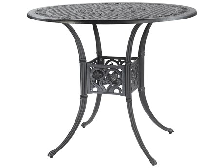 Gensun Michigan Cast Aluminum 48 Round Bar Table with Umbrella Hole