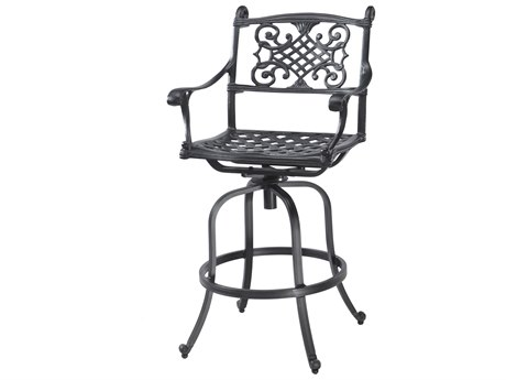 Gensun Michigan Cast Aluminum Cushion Swivel Bar Stool - Welded