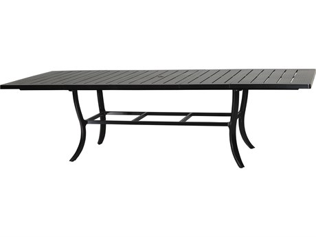 Gensun Channel Aluminum 79-114''W x 44''D Rectangular Extension Dining Table with Umbrella Hole PatioLiving