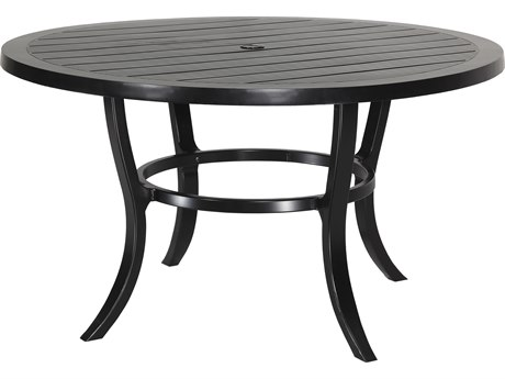 Gensun Channel Aluminum 53''Wide Round Dining Table with Umbrella Hole