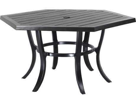 Gensun Channel Aluminum 61 Hexagon Dining Table with Umbrella Hole