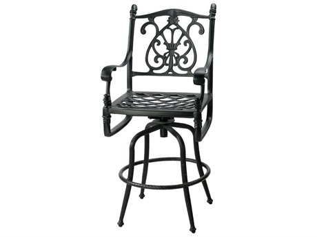 Gensun Florence Cast Aluminum Cushion Swivel Bar Stool