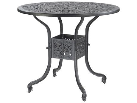 Gensun Florence Cast Aluminum 48 Round Bar Table with Umbrella Hole
