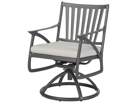 Gensun Amari Cushion Aluminum Carbon Swivel Rocker Dining Arm Chair